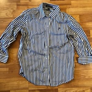 Ralph Lauren 3/4 sleeve purple&white striped polo